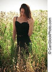 zomer, vrouw, gras, jonge, groot
