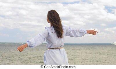 zomer, vrouw, plezier, het glimlachen, strand, hebben,...