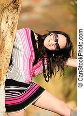 zomer, vrouw, zonnebrillen, mode