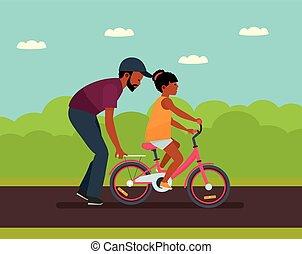 zomer, wandelende, dochter, gezin, rijden, vader, time., bike., leisure., portie, park, amerikaan, afrikaan, mensen.