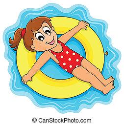 zomer, water, activiteit, thema, 1