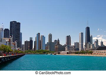 zomer, waterfrint, chicago, downtown, straat, aanzicht
