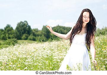 zomer, weide, beauty, jonge, vrouwlijk, verticaal, meisje
