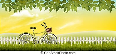 zomer, weide, natuur, bicycle., vector., landscape
