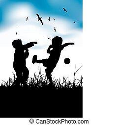 zomer, weinig; niet zo(veel), bal, jongens, akker, spelend