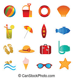 zomer, wit strand, iconen