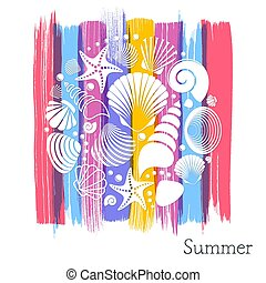 zomer, witte , kaart, zee schalen