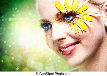 zomer, woman., abstract, vrouwlijk, verticaal, met, beauty, bokeh