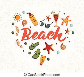 zomer, woord, cocktail, elements., zonnebrillen, sunscreen, strand