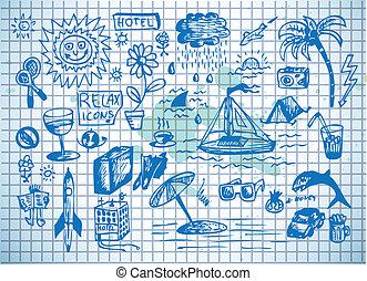 zomer, zee, illustratie