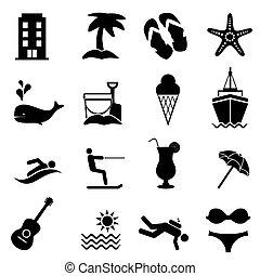 zomer, zet op het strand toevlucht, iconen