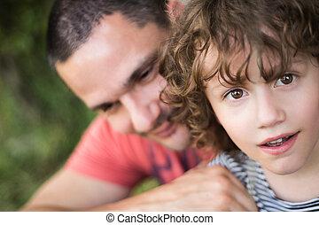 zomer, zijn, vader, nature., zonnig, jonge, son.