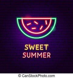 zomer, zoet, neon, etiket