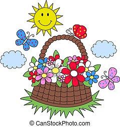 zomer, zon, bloemen, vlinder