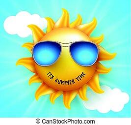 zomer, zon, vector, ontwerp, met, gekke , glimlachen, en, zomertijd, tekst