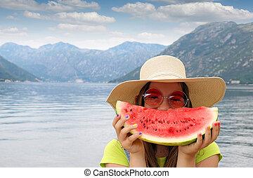 zomer, zonnebrillen, stro, vakantie, watermeloen, meisje, hoedje