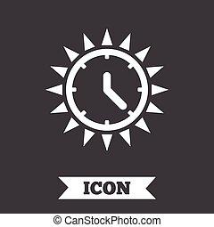 zomer, zonnig, saving., day., daglicht, tijd, icon.