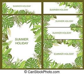zomers, tropische , groene, banieren