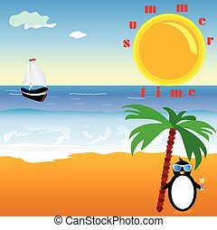zomertijd, met, penguin, vector, illustratie