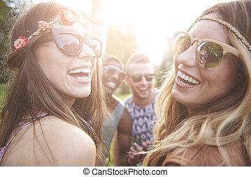 zomertijd, op, de, straatfeest