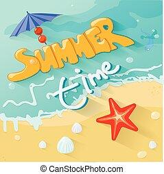 zomertijd, poster., vector