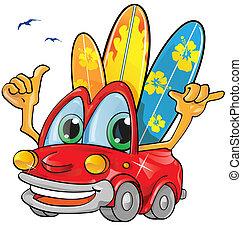 zomertijd, spotprent, auto
