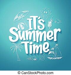 zomertijd, tekst, titel, vector