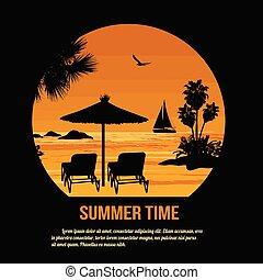 zomertijd, thema, poster, ontwerp