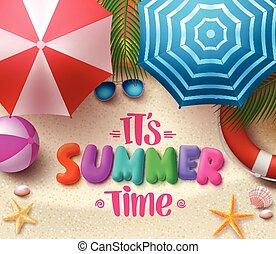 zomertijd, vector, kleurrijke, tekst, in het zand, met, strand, paraplu's