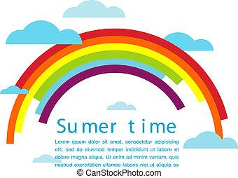 zomertijd, vector, met, regenboog, en, wolken