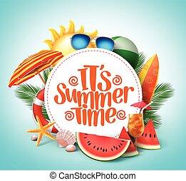 zomertijd, vector, spandoek, ontwerp, met, witte cirkel