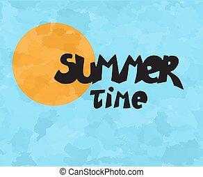 zomertijd, vector, zon, illustraction