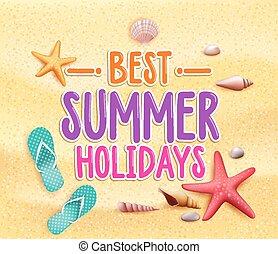 zomervakantie, best, kleurrijke, titel