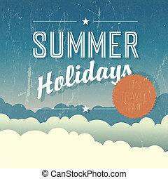 zomervakantie, poster., vector