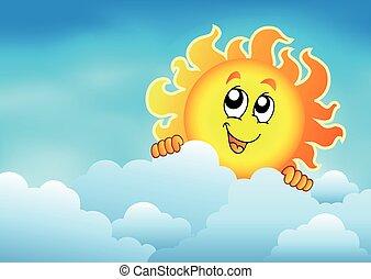 zon 2, hemel, bewolkt, zich het verschuilen