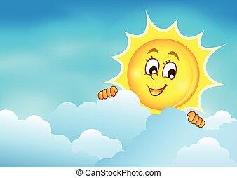 zon, 5, hemel, bewolkt, zich het verschuilen