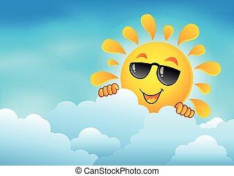zon, 6, hemel, bewolkt, zich het verschuilen