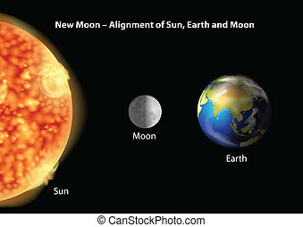 zon, aarde, belijning, maan