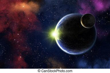 zon, aarde, maan