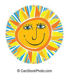 zon, abstract, het glimlachen