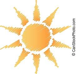 zon, abstract, krabbelen, logo
