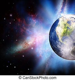 zon, abstract, onder, achtergronden, opstand, planeet, aarde