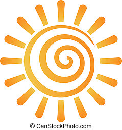 zon, abstract, spiraal, beeld, logo