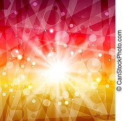 zon, abstract, stralen, achtergrond