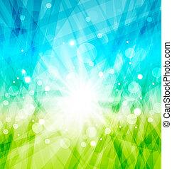 zon, abstract, stralen, moderne, achtergrond