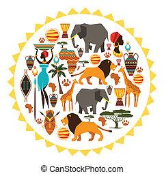 zon, afrikaan, icons., stylized, vorm, achtergrond, ethnische