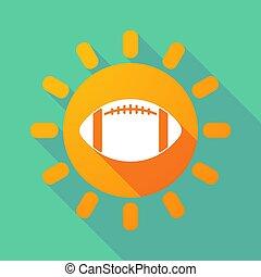 zon, balloon, voetbal, lang, amerikaan, schaduw
