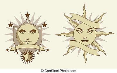zon, banieren, maan