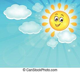 zon, beeld, 5, thema, vrolijke
