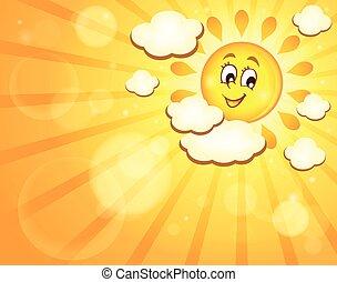 zon, beeld, thema, 7, vrolijke